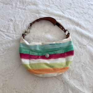 Coach rainbow stripe handbag